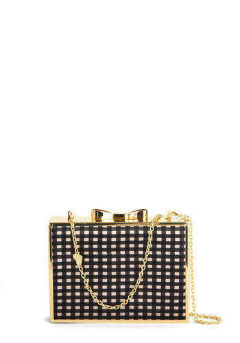 Betsey Johnson Bling Outside the Box Clutch by Betsey Johnson - White, Gold, Checkered / Gingham, Bows, Trim, Better, Red, Black, Party, Social Placements