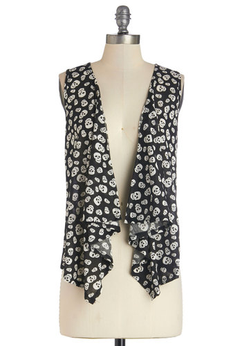 Noggin' Compares to This Vest - Good, Black, Sleeveless, Knit, Mid-length, Black, White, Novelty Print, Casual, Skulls, Sleeveless, Festival, Spring, Summer, Boho