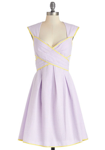 Give Me Amour Dress in Lilac - Purple, Yellow, Stripes, Cutout, Trim, Daytime Party, A-line, Better, Sweetheart, Woven, Cap Sleeves, Variation, Graduation, Pastel, Bridesmaid, Long