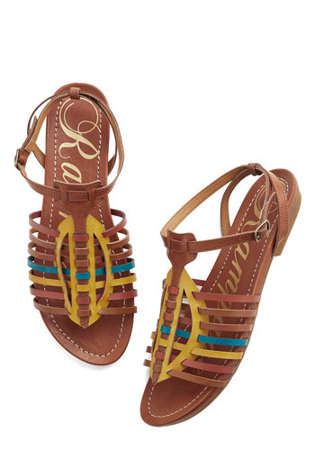 Fest in Show Sandal - Flat, Faux Leather, Tan, Yellow, Blue, Beach/Resort, Boho, Summer, Good, Strappy, Casual, Festival, Fruits
