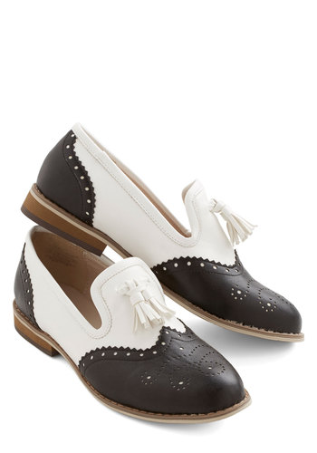 Joy, Oh Boy! Flat - Low, Faux Leather, Black, Solid, Tassels, Vintage Inspired, 20s, 30s, Better, Multi, White, Menswear Inspired