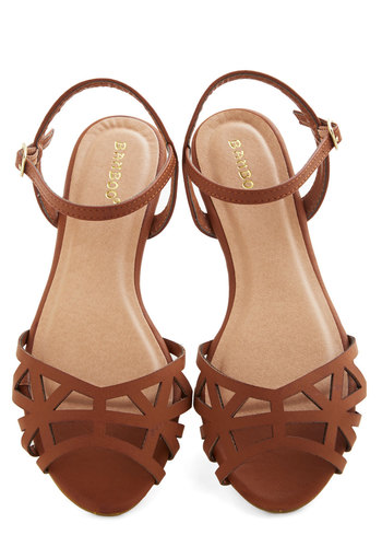 Favorite Delicatessen Sandal in Cognac - Flat, Faux Leather, Tan, Solid, Cutout, Boho, Summer, Good, Festival, Variation