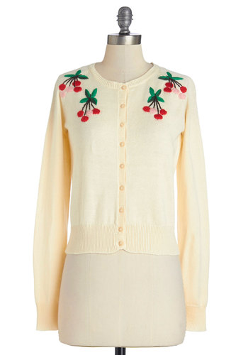 Cherries and Cappuccino Cardigan - Short, Knit, Cream, Buttons, Embroidery, Vintage Inspired, Fruits, Darling, Long Sleeve, Spring, White, Long Sleeve, Crew
