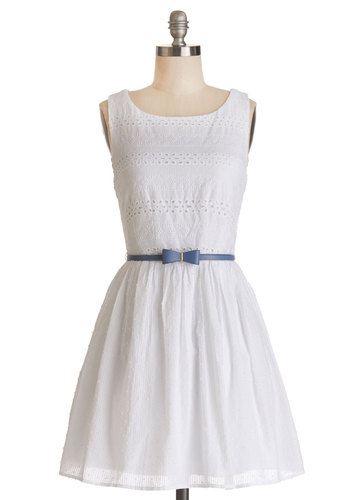 Springs True Dress - White, Solid, Backless, Eyelet, Casual, Sundress, A-line, Sleeveless, Scoop, Cotton, Woven, Belted, Summer
