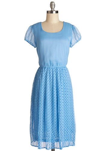 I'll Take Both Dress - Blue, Polka Dots, Pleats, Casual, A-line, Cap Sleeves, Better, Scoop, Woven, Long, Spring, Show On Featured Sale