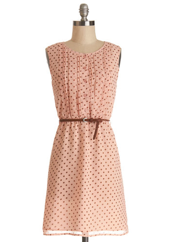 Chocolate Chip Smoothies Dress - Pink, Brown, Polka Dots, Buttons, Pleats, Belted, Casual, A-line, Sleeveless, Good, Scoop, Chiffon, Woven, Mid-length