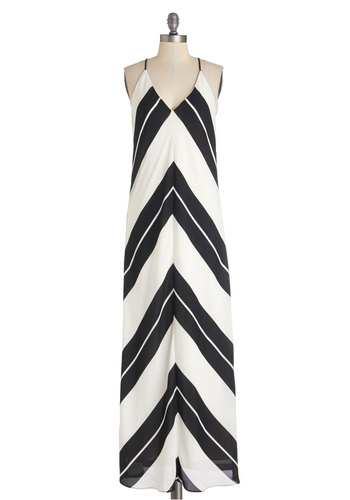 Decant Get Enough Dress - Maxi, Black, White, Stripes, Casual, Beach/Resort, Racerback, Better, V Neck, Woven, Long, Chevron, Summer