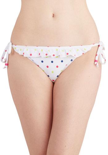 Reef Them Breathless Swimsuit Bottom - Good, White, Multi, Polka Dots, Beach/Resort, Summer, Knit, Ruffles