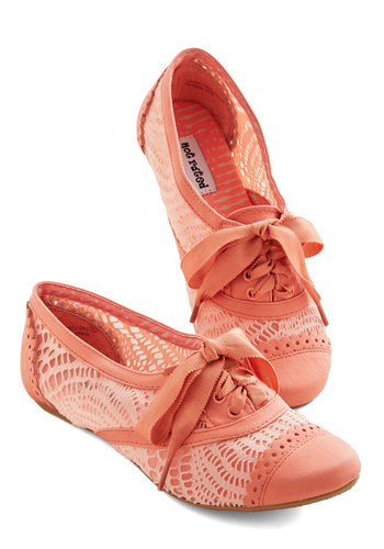 Follow My Footsteps Flat in Coral - Flat, Faux Leather, Coral, Solid, Crochet, Cutout, Daytime Party, Menswear Inspired, Vintage Inspired, 20s, 30s, Good, Lace Up, Variation, Sheer, Pink, Darling