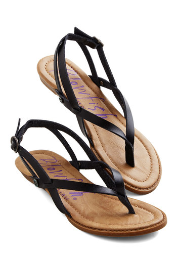 Camp Hardly Wait Sandal in Black by Blowfish - Low, Faux Leather, Black, Solid, Beach/Resort, Summer, Better, Variation