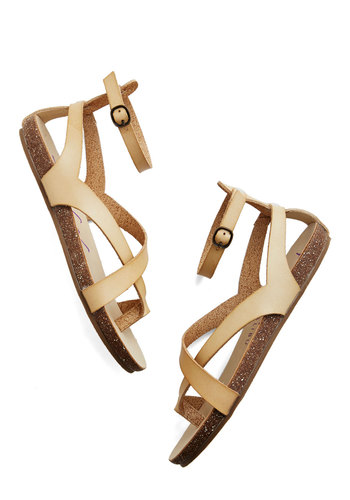 Soak Up Some Sun Sandal in Bone - Flat, Faux Leather, Tan, Solid, Beach/Resort, Summer, Better, Boho, Festival, Variation