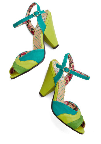 Bright Before Your Eyes Heel by Bettie Page - High, Faux Leather, Green, Multi, Stripes, Party, Daytime Party, Colorblocking, Better, Peep Toe, Chunky heel, Vintage Inspired