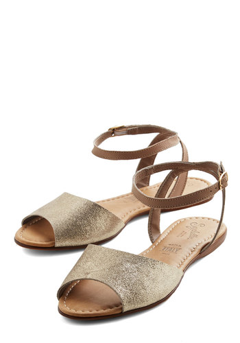 Brand New Sandal in Silver by Seychelles - Flat, Leather, Silver, Tan / Cream, Beach/Resort, Summer, Better, Variation