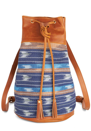 Albackpacka Bag - Blue, Tan / Cream, Multi, Print, Festival, Faux Leather, Woven, Blue, Boho, Work
