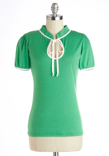 Make the Most of It Top in Grass - Mid-length, Knit, Green, White, Trim, Pinup, Short Sleeves, Green, Short Sleeve, Vintage Inspired, 50s, Variation, 60s, Beach/Resort, Americana