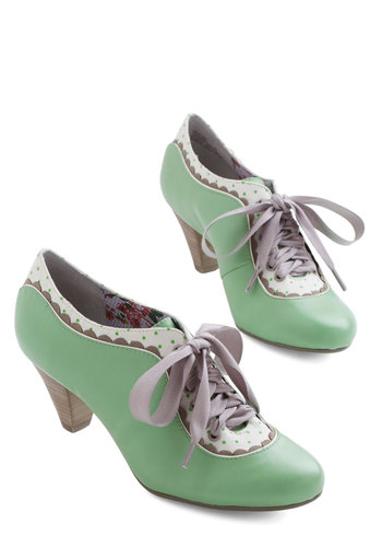 Model Home Heel in Mint by Poetic License - Mid, Leather, Solid, Polka Dots, Scallops, Party, Daytime Party, Vintage Inspired, 20s, Best, Lace Up, Mint, Variation, Pastel