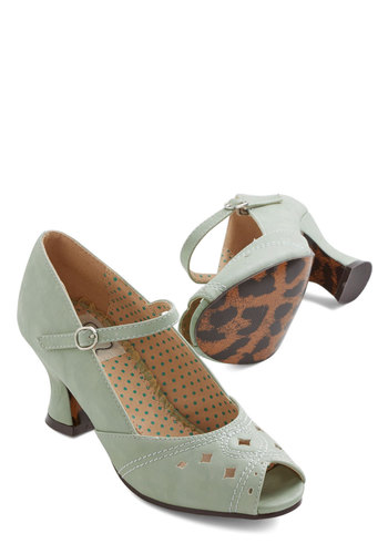Dance of Your Dreams Heel in Mint by Bettie Page - Mid, Faux Leather, Mint, Solid, Cutout, Vintage Inspired, 20s, 30s, Mary Jane, Peep Toe, Chunky heel, Variation, Pastel