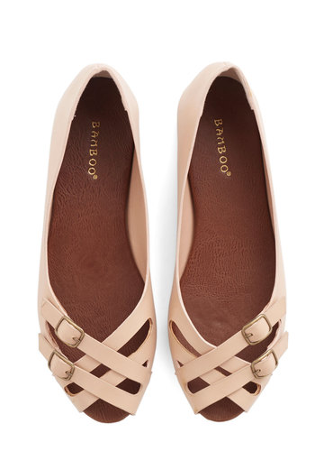 Prancing in the Moonlight Flat in Beige - Flat, Faux Leather, Tan, Solid, Buckles, Work, Good, Peep Toe, Strappy, Variation, Daytime Party