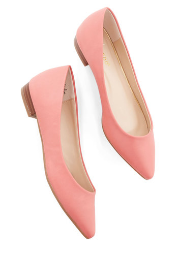 Follow the Arrow Flat in Coral - Low, Faux Leather, Solid, Work, Valentine's, Minimal, Good, Variation, Coral, Daytime Party, Pastel