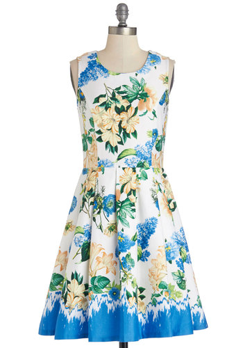 To a High Tea Dress by Yumi - Multi, Floral, Pleats, A-line, Sleeveless, Summer, Better, Scoop, Woven, Mid-length, Daytime Party, Graduation, Sundress