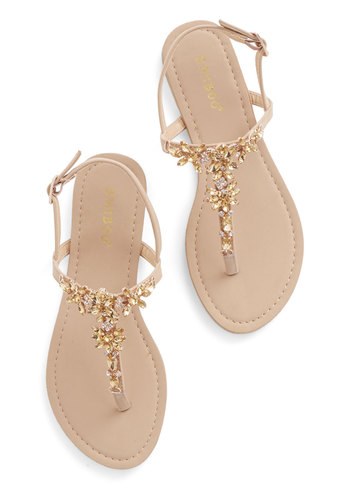 Shine Like You Mean It Sandal in Champagne - Flat, Faux Leather, Tan, Gold, Rhinestones, Luxe, Summer, Good, T-Strap, Daytime Party, Variation, Statement