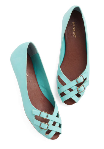 Prancing in the Moonlight Flat in Turquoise - Flat, Faux Leather, Blue, Solid, Buckles, Work, Daytime Party, Good, Peep Toe, Strappy, Variation