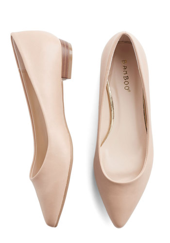 Follow the Arrow Flat in Taupe - Low, Faux Leather, Tan, Solid, Work, Daytime Party, Minimal, Good, Variation, Basic