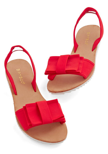 Dreaming on the Dock Sandal - Flat, Knit, Red, Solid, Bows, Summer, Americana, Social Placements