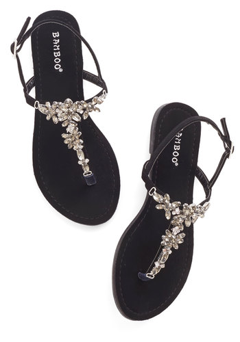 Shine Like You Mean It Sandal in Black - Flat, Faux Leather, Rhinestones, Daytime Party, T-Strap, Statement