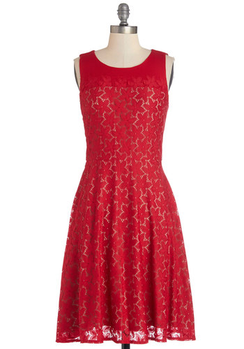 Make It Poppy Dress - Red, Solid, Exposed zipper, Lace, Party, A-line, Sleeveless, Better, Scoop, Cutout, Valentine's, Long, Knit, Lace, Americana, Graduation