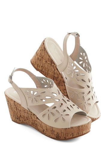 Sashay Through Summer Sandal - Mid, Faux Leather, Cream, Solid, Cutout, Casual, Boho, Spring, Summer, Good, Platform, Wedge, Slingback