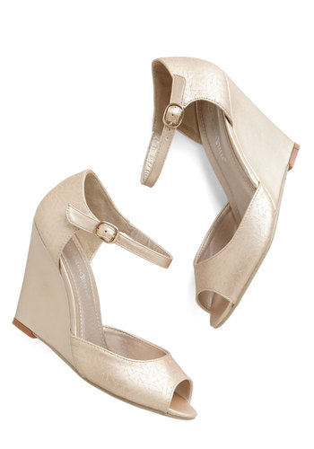 Etch Me If You Can Wedge in Champagne - High, Faux Leather, Gold, Solid, Special Occasion, Prom, Wedding, Party, Holiday Party, Bridesmaid, Bride, Luxe, Good, Wedge, Peep Toe, Variation