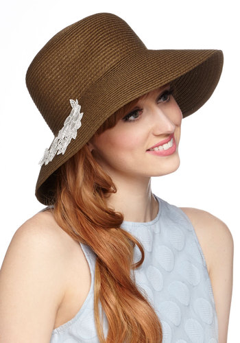 Lace Go Outside Hat by Kling - Tan, White, Solid, Flower, Lace, Daytime Party, Beach/Resort, Spring, Summer, Better