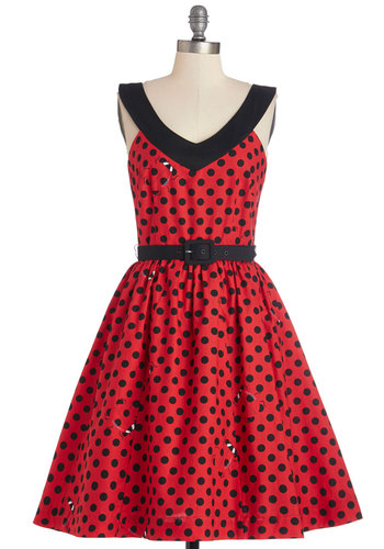 Who's That Lovely Ladybug? Dress by Bea & Dot - Red, Black, Polka Dots, Print with Animals, Belted, Fit & Flare, Sleeveless, Better, V Neck, Casual, Cotton, Woven, Pockets, Exclusives, Private Label, Critters, Top Rated, Full-Size Run, Long