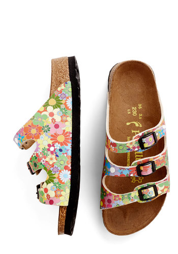 Winsome Wildflower Child Sandal by Birkenstock - Flat, Faux Leather, Multi, Floral, Beach/Resort, Vintage Inspired, 60s, Summer, Better, Strappy, Boho, Festival, Statement