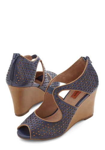 Penchant for Pretty Wedge by Miz Mooz - Mid, Leather, Blue, Tan / Cream, Solid, Cutout, Party, Daytime Party, Best, Wedge, Peep Toe