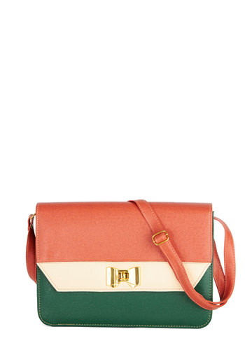 Flawless Finale Bag - Tan / Cream, Solid, Bows, Colorblocking, Faux Leather, Multi, Red, Green, Work