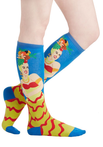 Fruitful Frolic Socks - Blue, Multi, Fruits, Good, Knit, Novelty Print, Casual, Quirky