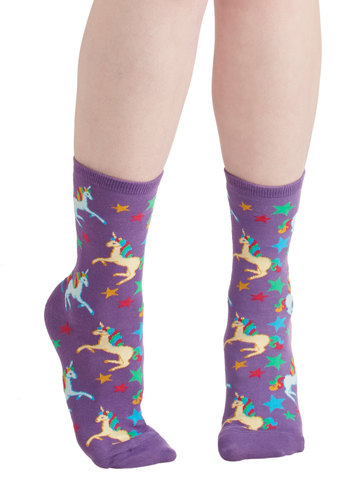 Just Another Magic Monday Socks - Purple, Multi, Print with Animals, Quirky, Good, Knit, Casual, Top Rated