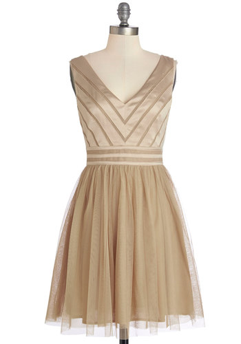 Fairytale of Two Cities Dress in Caramel - Mid-length, Tan, Solid, Special Occasion, Prom, Party, A-line, Sleeveless, Woven, Better, V Neck, Backless, Variation, Tulle, Wedding, Bridesmaid, Homecoming