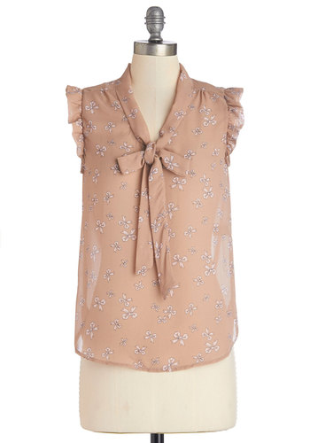 That's How It Bows Top in Beige - Sheer, Woven, Mid-length, Tan, Novelty Print, Tie Neck, Work, Darling, Sleeveless, Brown, Sleeveless, Ruffles, Variation