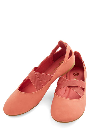 Fall Into Grace Flat - Flat, Faux Leather, Coral, Solid, Cutout, Casual, Good, Strappy