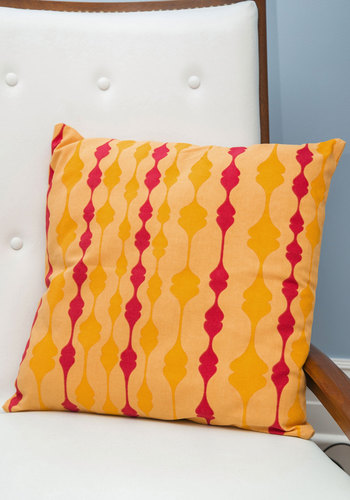 Colorful Charm Pillow by Karma Living - Cotton, Knit, 50s, Mid-Century, Better, Yellow, Red, Print, Summer, 60s