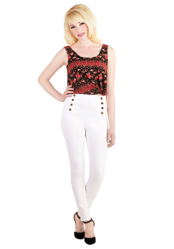 Set Sailorette Jeans in White - High Waist, Skinny, Good, Mid-Rise, Full length, White, Colored, Denim, Denim, Knit, White, Solid, Buttons, Casual, Nautical, Vintage Inspired, Spring, Summer, Variation