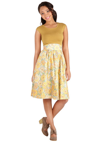 Flair for the Fantastic Skirt in Pasture by Bea & Dot - A-line, Long, Cotton, Woven, Yellow, Floral, Casual, Daytime Party, High Waist, Better, Yellow, Pockets, Exclusives, Private Label, Pastel