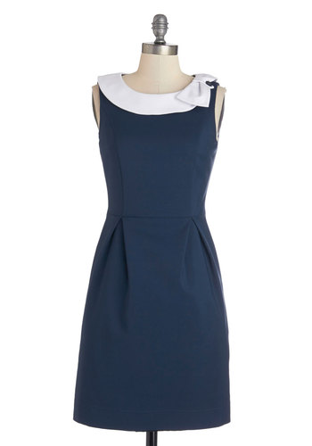 Extraordinary Executive Dress by Myrtlewood - Woven, Blue, White, Pockets, Casual, Shift, Sleeveless, Better, Bows, Work, Exclusives, Private Label, Show On Featured Sale, Mid-length