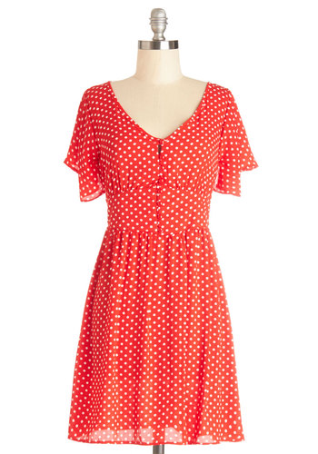 Swing Dance-a-Thon Dress - Red, White, Polka Dots, Buttons, Casual, A-line, Short Sleeves, Good, V Neck, Woven, Mid-length, Vintage Inspired, 40s, 50s, Chiffon