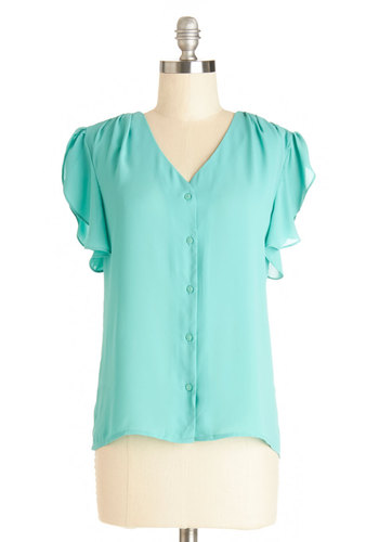 I Dew Declare Top - Sheer, Woven, Mid-length, Blue, Solid, Buttons, Work, Short Sleeves, Spring, Blue, Short Sleeve, Chiffon, Summer, Good