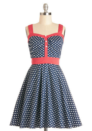 Captain's Blog Dress - Knit, Mid-length, Blue, White, Polka Dots, Casual, A-line, Sleeveless, Better, Sweetheart, Red, Nautical, Americana, Sundress