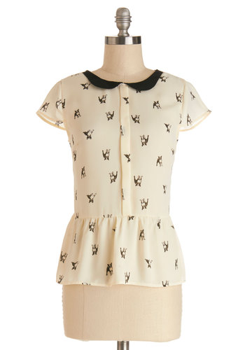 Poised Paws Top - White, Short Sleeve, Sheer, Woven, Mid-length, Cream, Print with Animals, Peter Pan Collar, Work, Darling, Critters, Peplum, Cap Sleeves, Collared